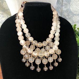 J. Crew Jewelry - J CREW pink layered beaded bib bow tie necklace